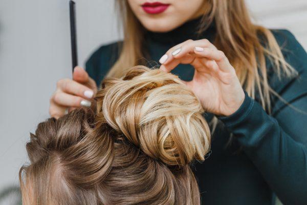 hair stylist doing hair