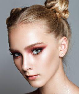 woman wearing warm red eyeshadow