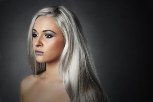 woman with platinum silver hair